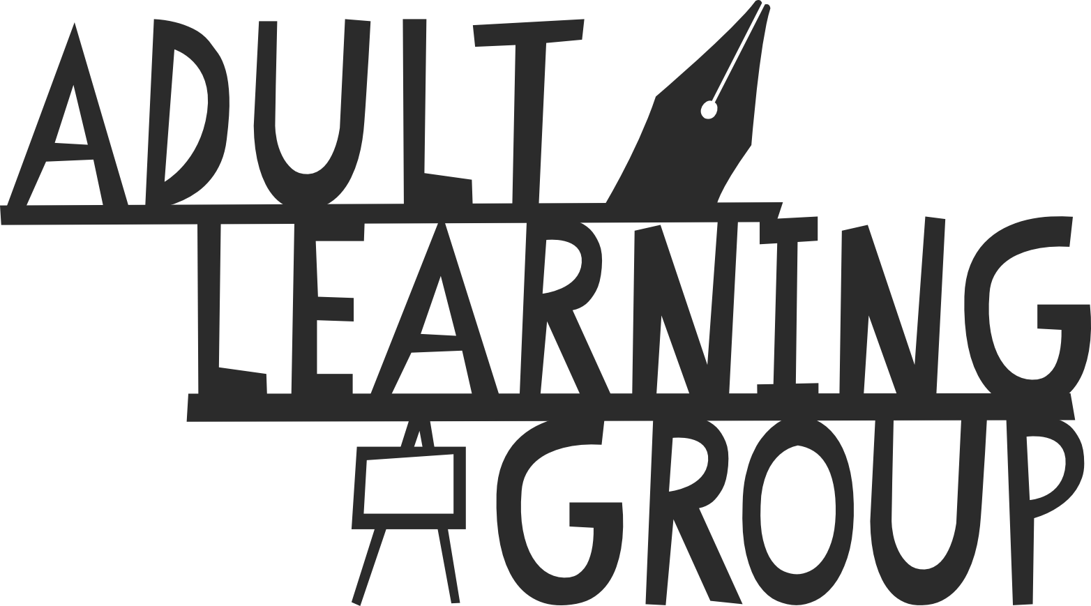 Adult Learning Group in wood cut style font