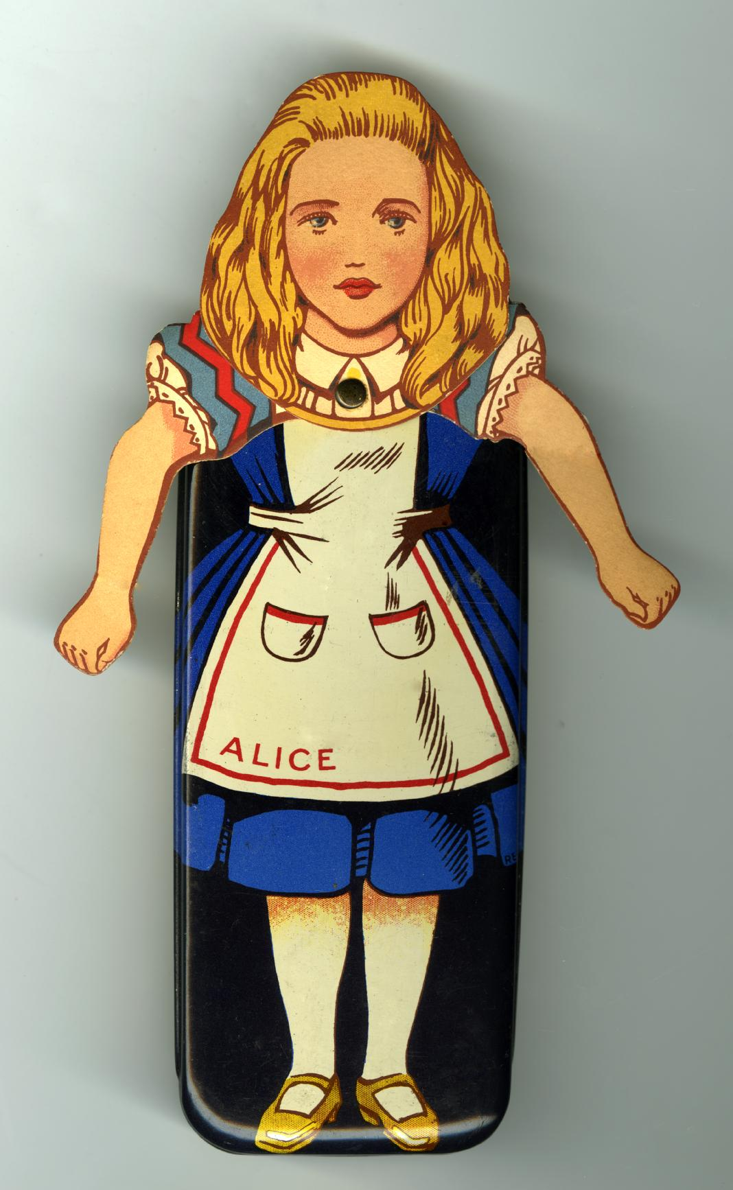 Alice from Alice in Wonderland illustration on a toffee tin