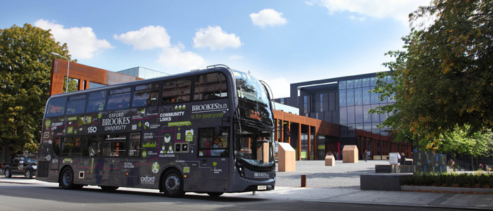 Brookes Bus outside university building