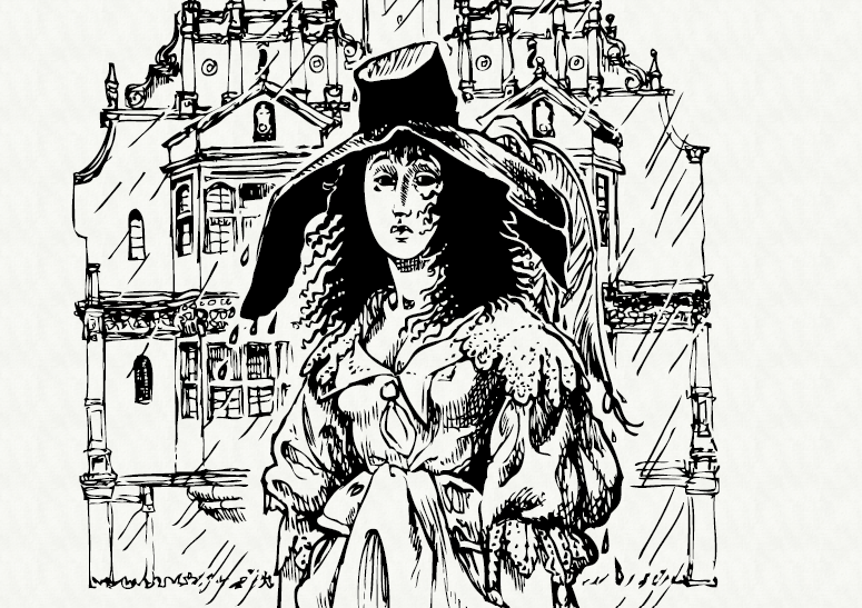 A black and white drawing of Lady Anne Fanshawe looking disheveled standing outside an ornate Oxford building
