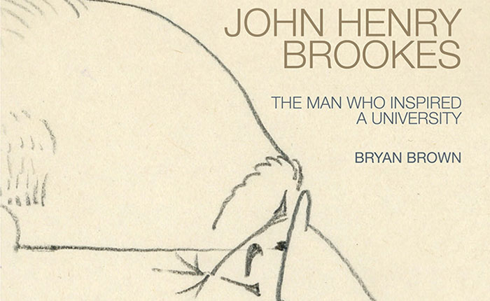 An image of the front cover of Bryan Brown's book featuring an illustration of a side profile  view of John Henry Brookes.
