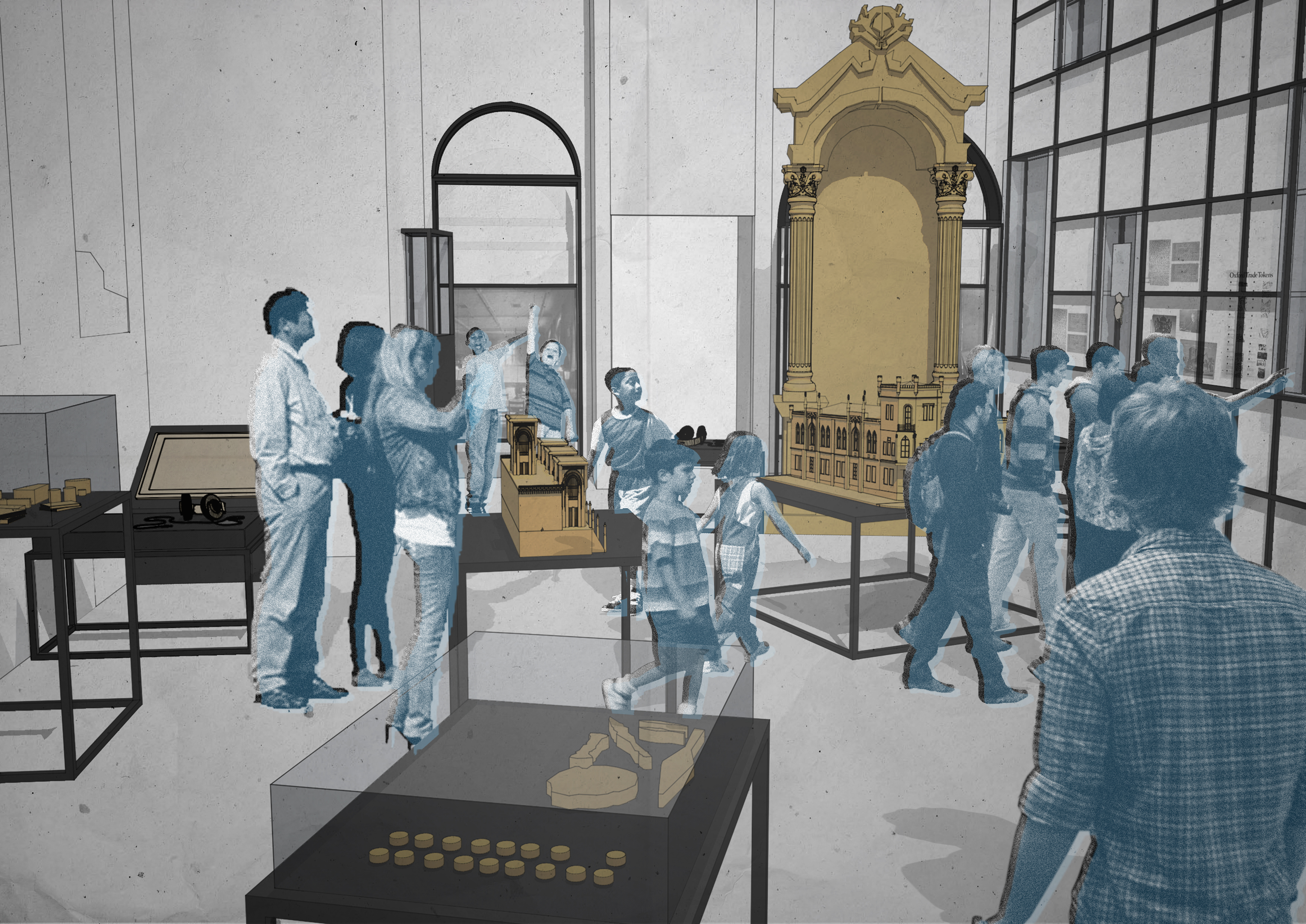 An artist's impression of the new Museum of Oxford galleries featuring people looking at objects.