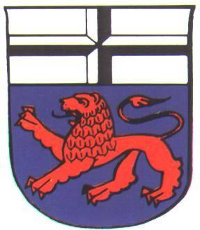 Drawing of the old Bonn coat of arms. A shield shape with a black and white cross covering the top half, and a red lion on a dark blue background at the bottom section.