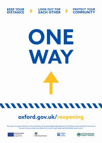 "Poster for businesses saying: ""One way"""
