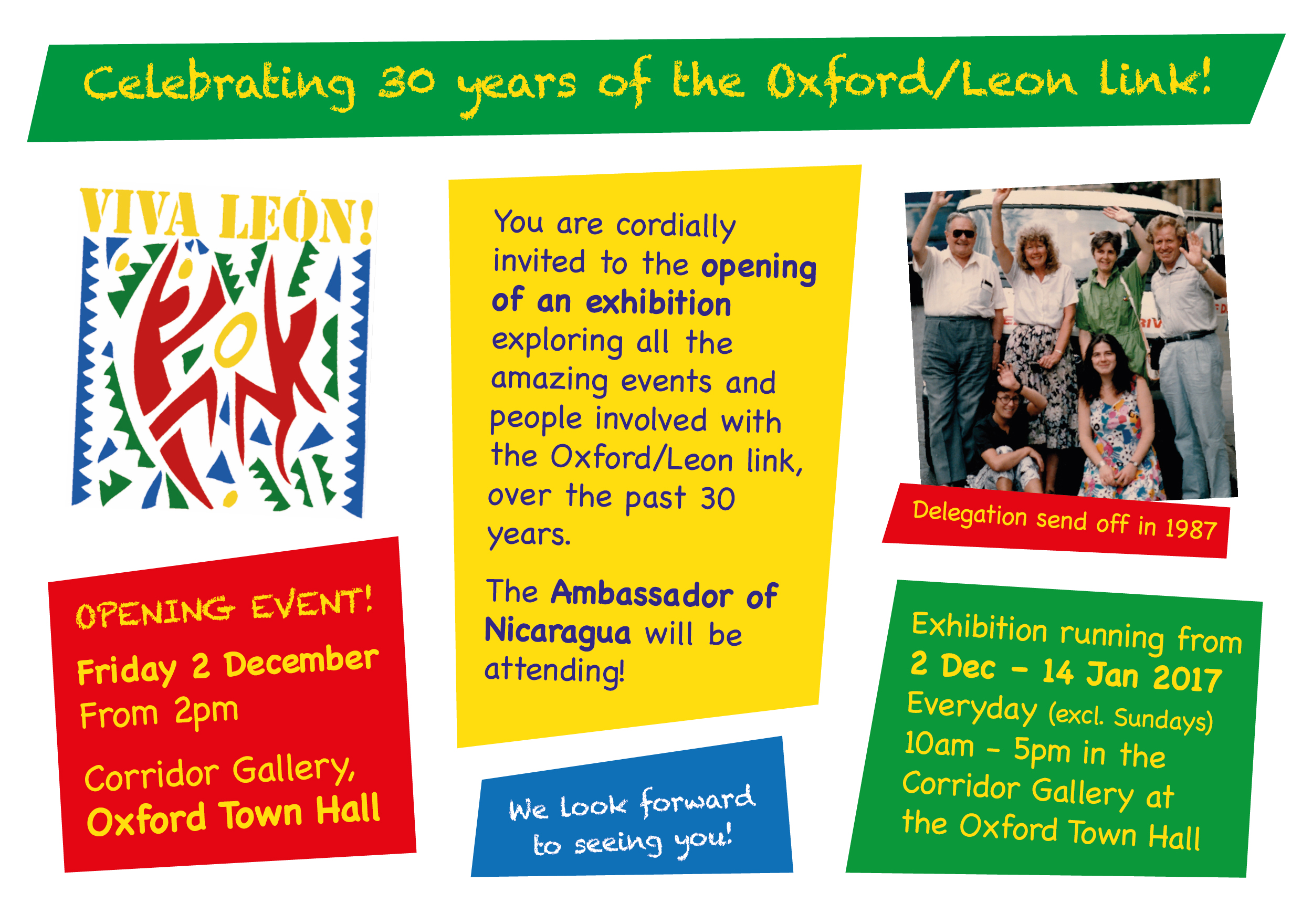 Exhibition celebrating 30 years of the Oxford Leon link - opening event on Friday 2nd of December from 2pm