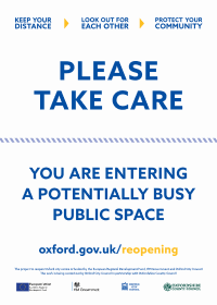 "Poster for businesses saying: ""Please take care, you are entering a potentially busy public space"""