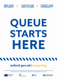 "Poster for businesses saying: ""Queue starts here"""