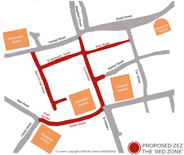 Map of Red Zone which includes Bonn Square, Queen Street, Cornmarket, Ship Street, St Michael's street, and New Inn Hall Street