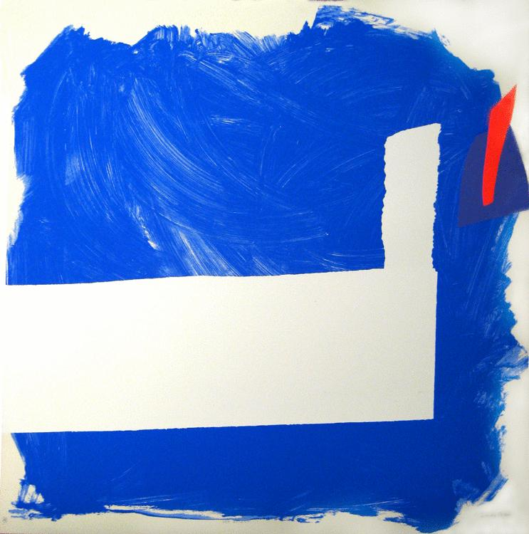 Abstract painting, blue and white