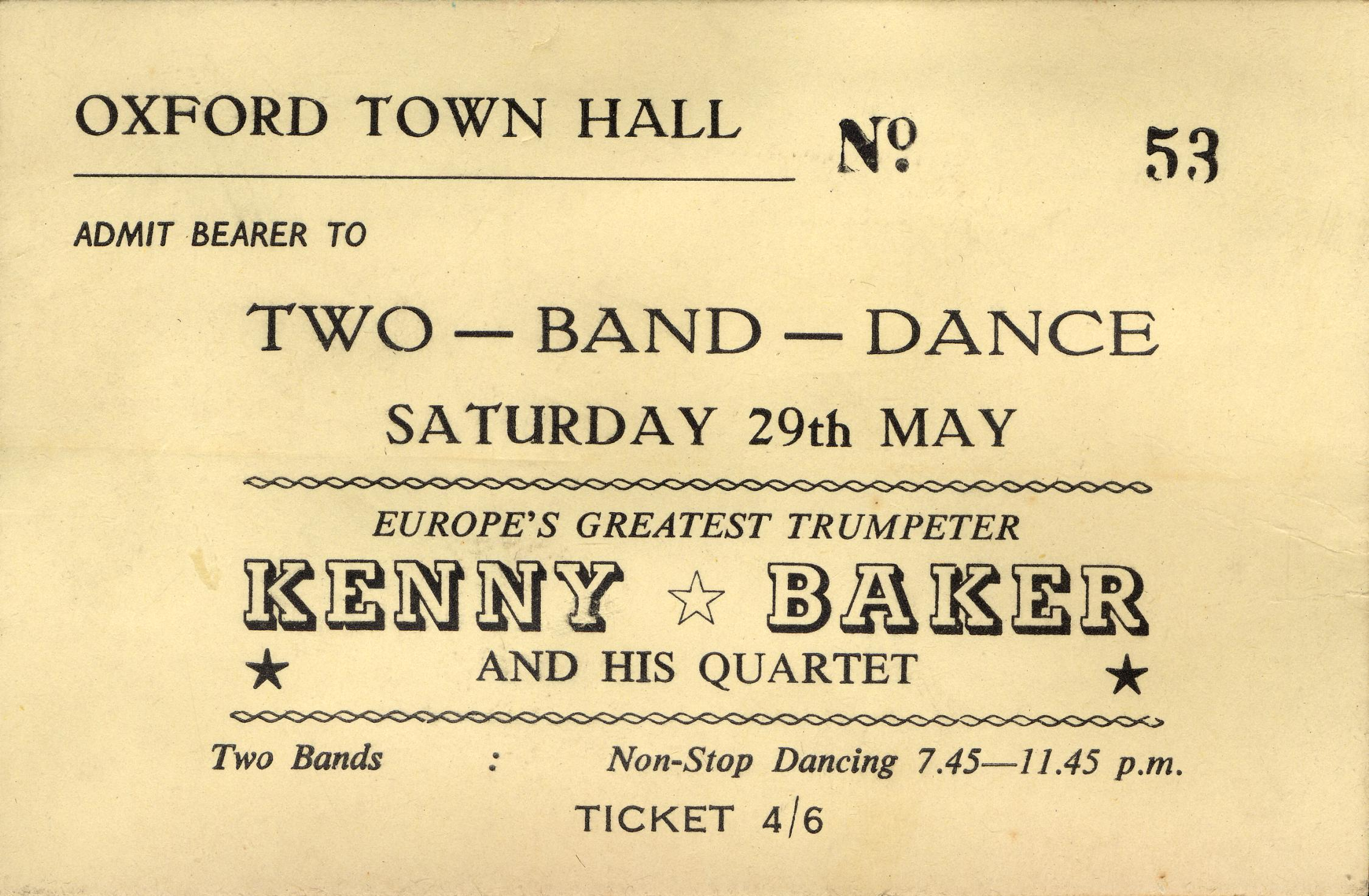 A ticket to a two band dance with Kenny Baker at the Town Hall