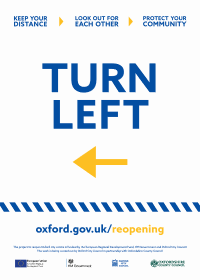 "Poster for businesses saying: ""Turn left"""