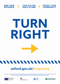 "Poster for businesses saying: ""Turn right"""
