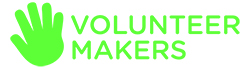 Volunteer Makers logo which includes a green hand print