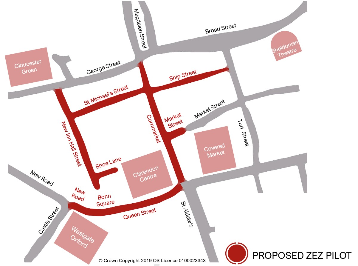 [Map of ZEZ Pilot zone which consists of Bonn Square, Queen Street, Cornmarket, part of Market Street, Ship Street, St Michael's Street, New Inn Hall Street, and Shoe Lane]