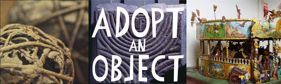 an image of three different museum objects with the words 'Adopt an Object' in large, white print