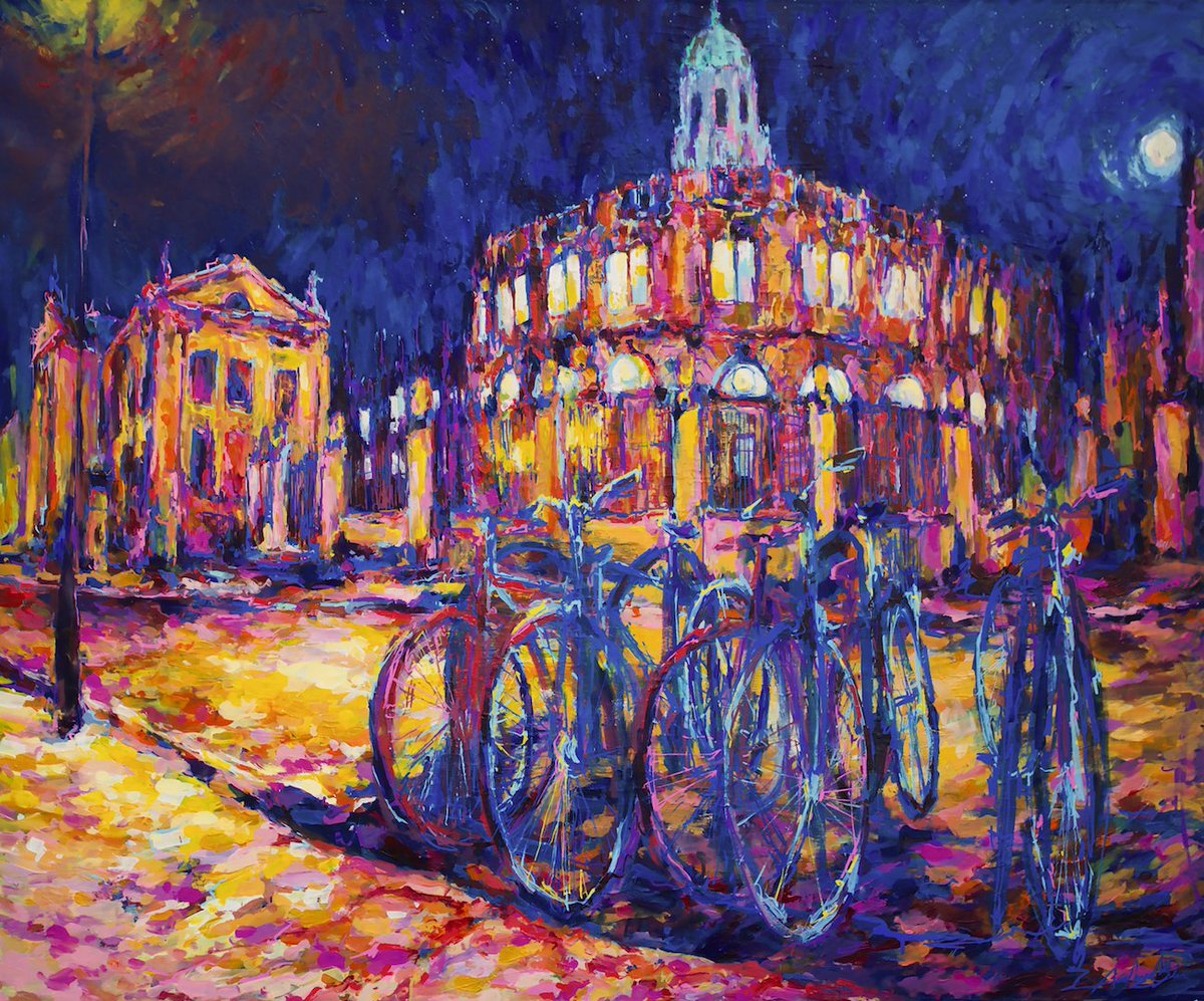 A painting by Andrew Manson of bikes in front of the Radcliffe camera