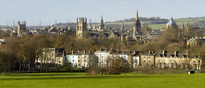 A picture of Oxford's famous dreaming spires skyline taken from South Park