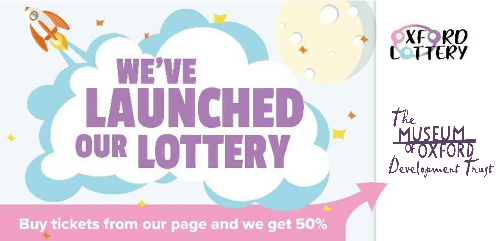 Text 'We've launched our lottery' with cartoon of rocket