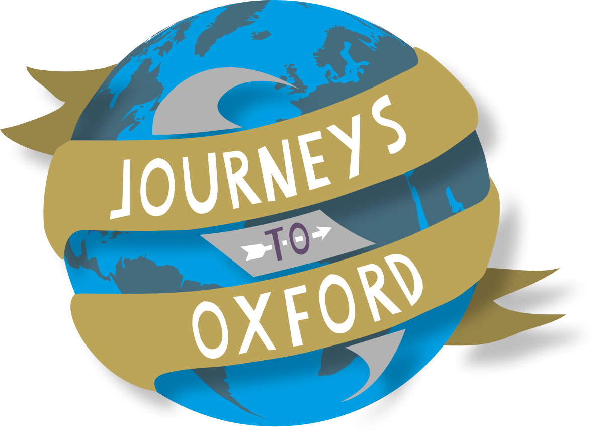 Journeys to Oxford on a banner surrounding a globe.