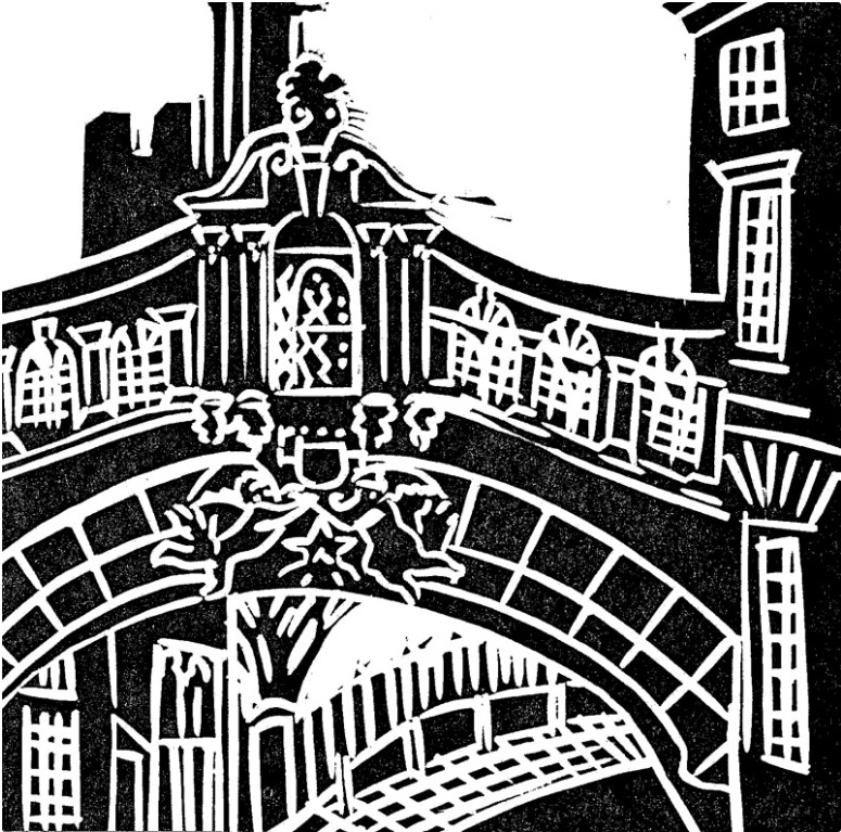 A lino print image of the bridge of sighs in Oxford
