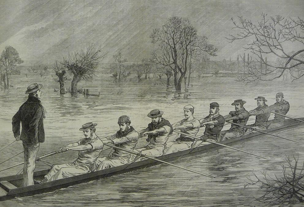 19th century sketch of a university boat ace. The men rowing all wear smart clothes and boater hats