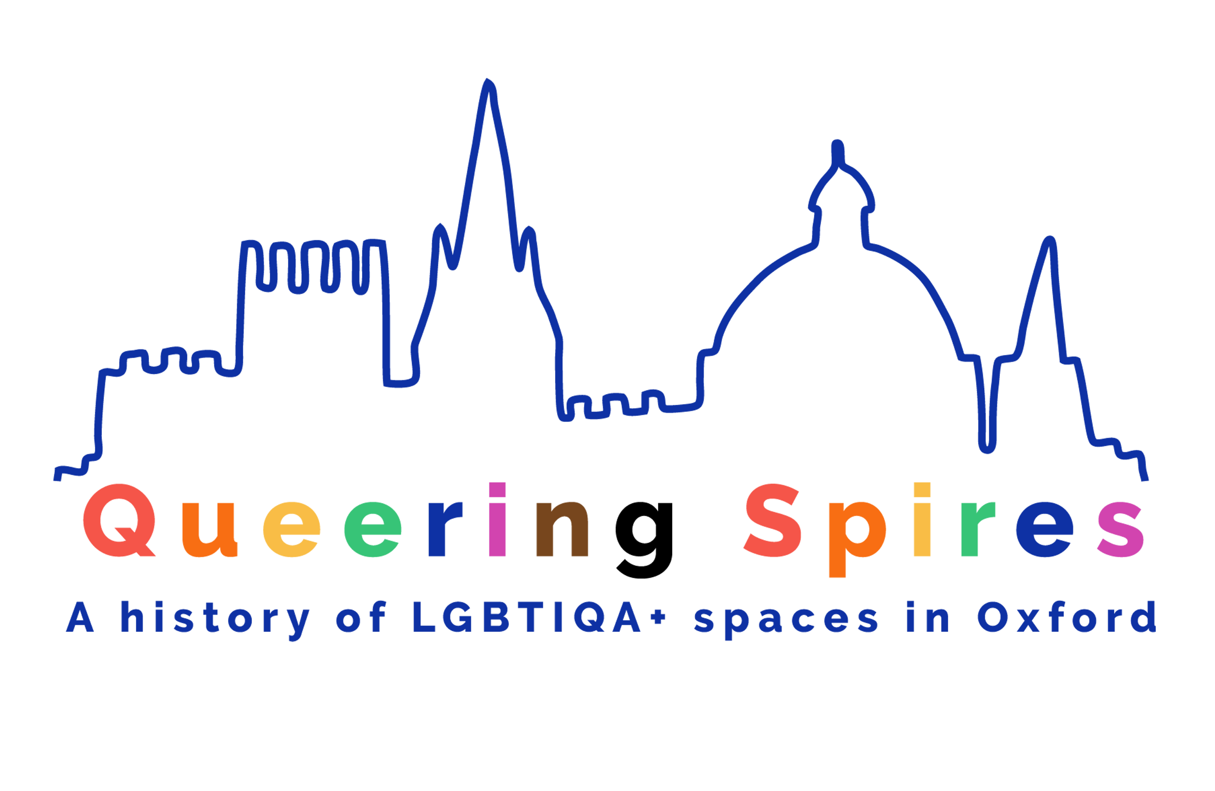 Project logo: an outline of skyline with the Oxford spires, and text which reads Queering Spires: A history of LGBTIQA+ spaces in Oxford