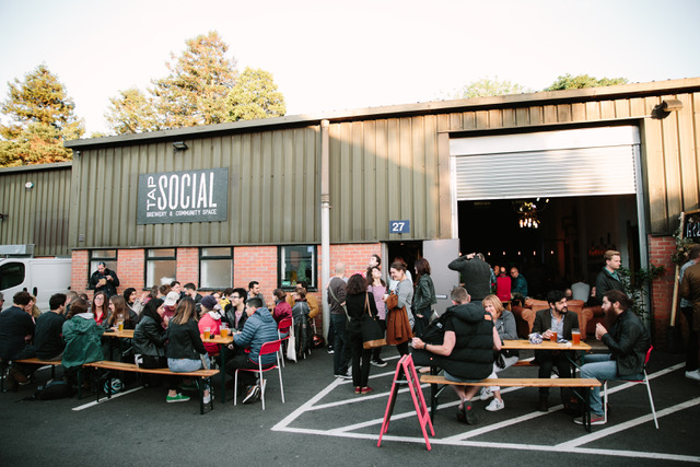 Photograph of the forecourt of the Tap Social brewery and tap house