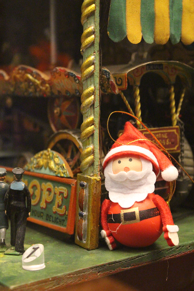 A photo of a toy father Christmas in the museum