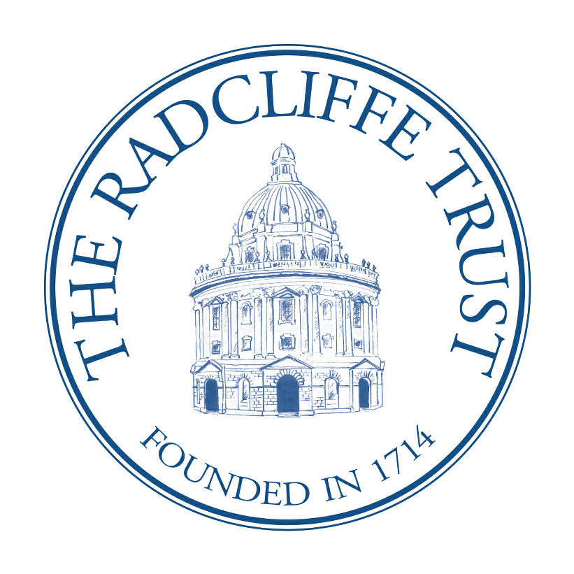 The logo for the Radcliffe Trust is blue with a drawing of the Radcliffe camera at its centre