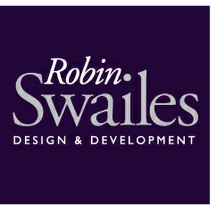 The name Robin Swailes followed by the words Design and Development on a dark blue background
